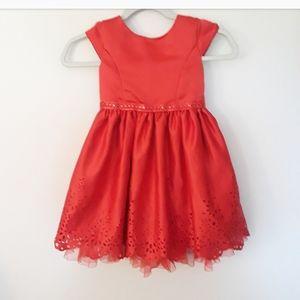 Sweet Heart Rose Girl's Red Satin Eyelet Dress